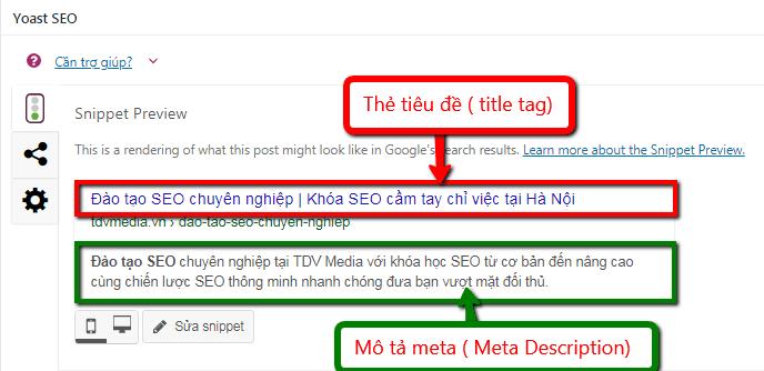 Thẻ tiêu đề và mô tả meta trong plugin Yoast SEO