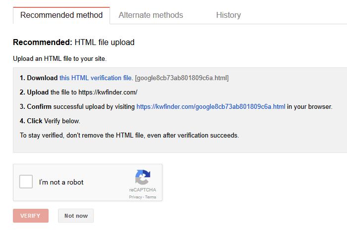 Xác minh trang web trong Google Search Console